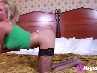 Big Natural Boobed Brittany Teases In Fishnets!