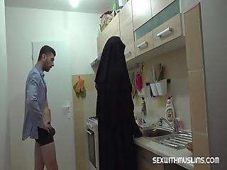 This Muslim Busty Does Not Fulfill Her Duties As Her Husband Imagines Therefore He Pulls His Hard Dick Out Of His Pants And Fills Her Mouth He Fucks Her Hairy Pussy So Hard
