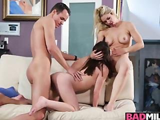 Sarah And Lily Loves 3some Fuck On A Couch