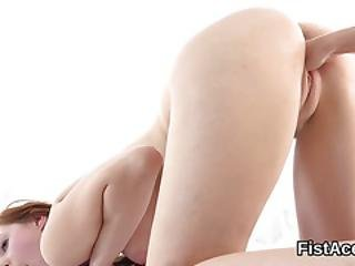 Fist Fucked Lesbian Wet Teen Gets Off