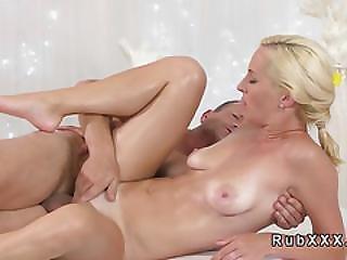 Masseur Fingering Sexy Blonde Before Sex