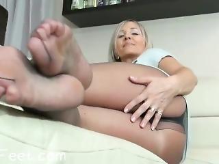 voet, fetish, volwassen, nylon, solo