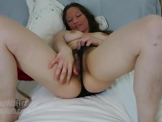Hairy Cara Banx As A Cheerleader Strips On The Bed And Fingers Her Pussy