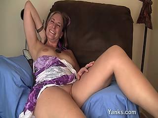 Hippy Girl Azrael Rubs Her Wet Pussy