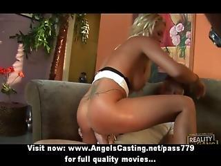 Amateur Amazing Sexy Blonde Girl With Big Fake Tits Hardcore Fucking