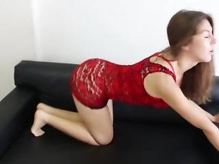 Hot Brunette Teen Dancing & Ass Shaking In Tight See Through Minidress !
