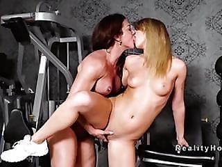Muscled Busty Milf Fucks Lesbian Teen