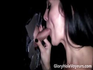 Hot Brunette Sucks Small Cock In Gloryhole
