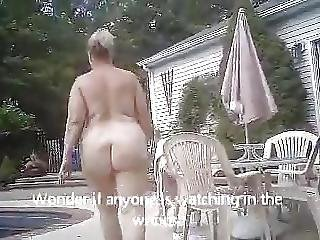 Unaware Bbw Beth Walking Naked To The Pool