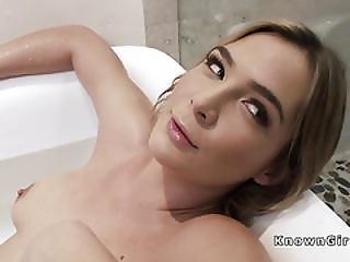 Blonde Girlfriend Masturbates In Bathtub Then Fucks