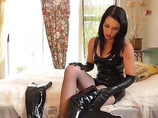 Young Goddess Kim In Latex...boots & Gloves