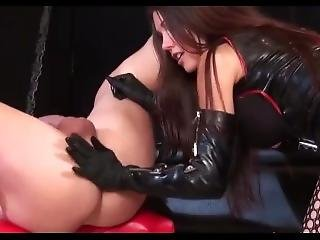 Mistress In Latex Stockings Fucks Domina Guy With Strapon In Bondage Style