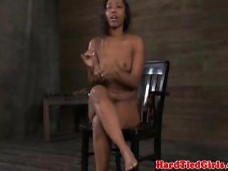 Gagged And Restrained Ebony Sub Paddled Hard