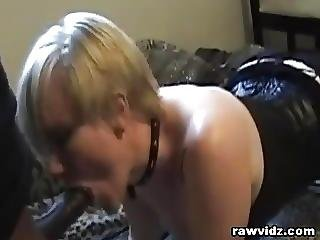Blonde Bdsm Neck Collar Sucking Big Black Cock