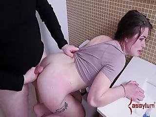 19 Year Old Gets Brutal Anal Punishment In The Toilet