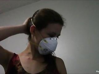 Hhot Babe Tries On And Models An N-95 Mask