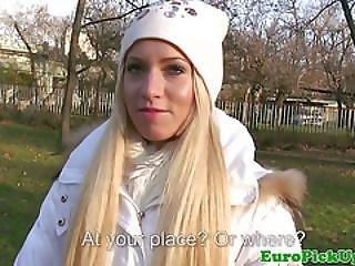 Blonde Picked Euro Amateur Grabs Dick