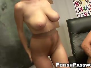Busty Redhead Slut Gives Amazing Footjob In The Classroom