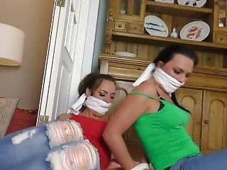 Lisa & Abbie Bound And Gagged In Tight Jeans