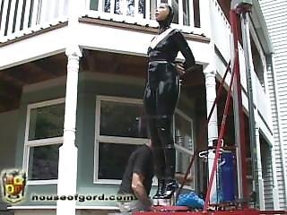 Latex Girl Tied, Wrapped, And Hoisted P3 - Behind The Scenes