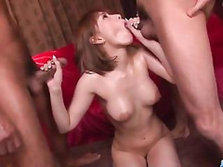 Tiara Ayase Gets Her Pussy Smashed By Two Studs