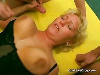Two German Chicks In A Wild Bukkake Orgy