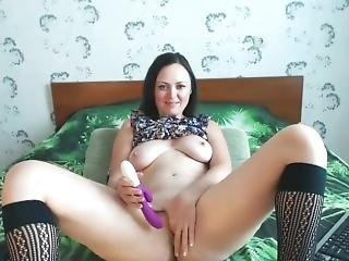 Smiley Girl Playing With Her Dildo