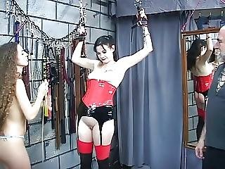 Old Sadist Canes Mature Dark Haired Bitches Pudgy Ass In His Dungeon