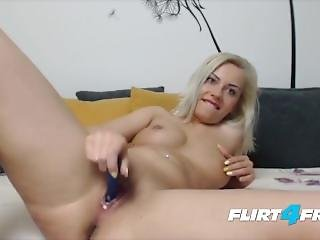 Blonde Bombshell With Pierced Nipples Fingers Her Ass