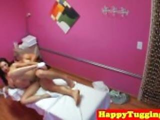Asian masseuse wanks client