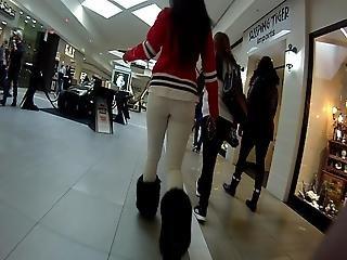 Chunky Booty Ebony Walking At The Mall