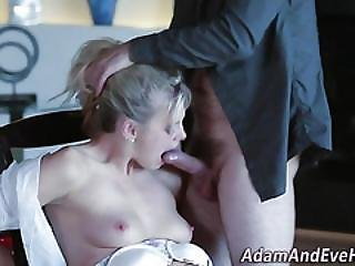 Bound Babe Swallows Jizz