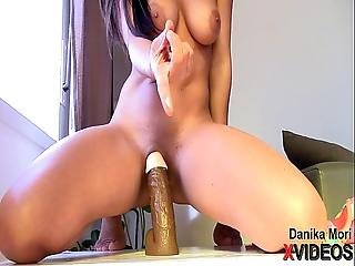 College Teen Rides Huge Black Dildo With Multiple Orgasm Danika Mori