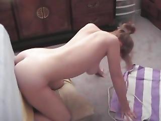 Young Blonde Teen Fucks Mounted Dildo Blowjob Cums