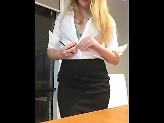ξανθιά, γραμματέας, σέξυ, σόλο, Teasing, Εφηβες