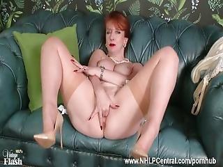 Redhead Milf Masturbates In Retro Chic Lingerie Seamed Nylon Designer Heels