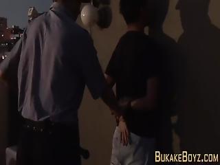 Gay Latino Criminal Riding Policemans Cock And Getting Facial