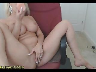 Busty Blonde Cougar Fucks Her Wet Cunt