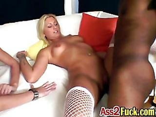 Blonde Mommy Exposed Real Tits While Sex Training Brunette Teen With Bbc