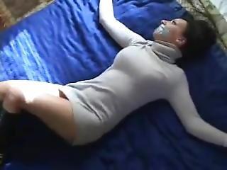 brud, bondage, brunett, små tuttar, bunden