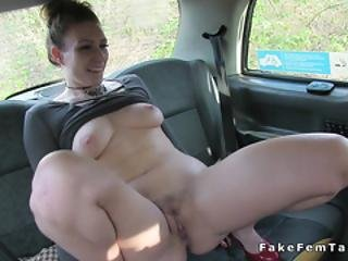 Huge Tits Babe Licking Tattooed Cab Driver