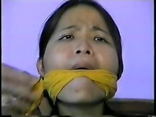 Asian Girl Cleave Gagged With Stuffing