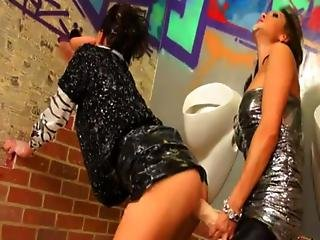 Strapon Fucking In Bukkake Bathroom With Lesbians