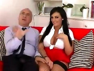 Brunette With A Pair Of Big Fake Tits Puts Them To Work