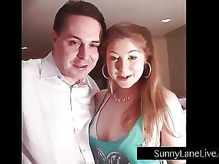 Sunny Lane Sucks Off Lucky Fan