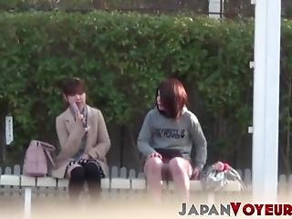 Young Japanese Babe Filmed Toying Pussy At A Bus Stop