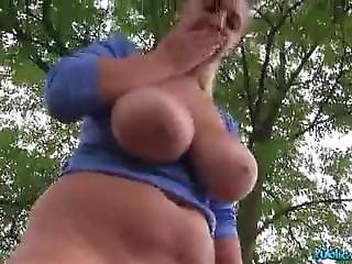Blonde With Huge Natural Tits Crystal Swift Fucked Outside
