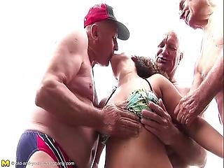 Kinky Teen Doing Three Old Geezers