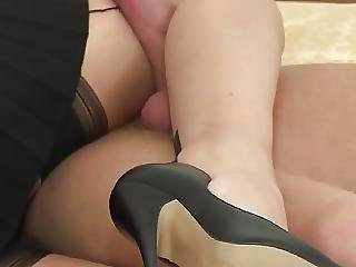 Lady In Stockings Footjob With Cum On Tits