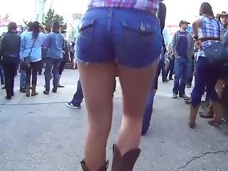 Candid Cowgirl Ass In Jean Shorts And Boots